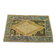 Load image in gallery viewer, green Indian rectangular handmade tapestry