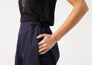 Wide Cropped Trouser in Navy