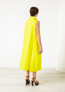 Balloon Cotton Dress in Yellow