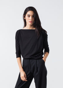 Boat Neck Top in Black