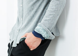 Kasuri Jersey Button-Up in Blue Grey
