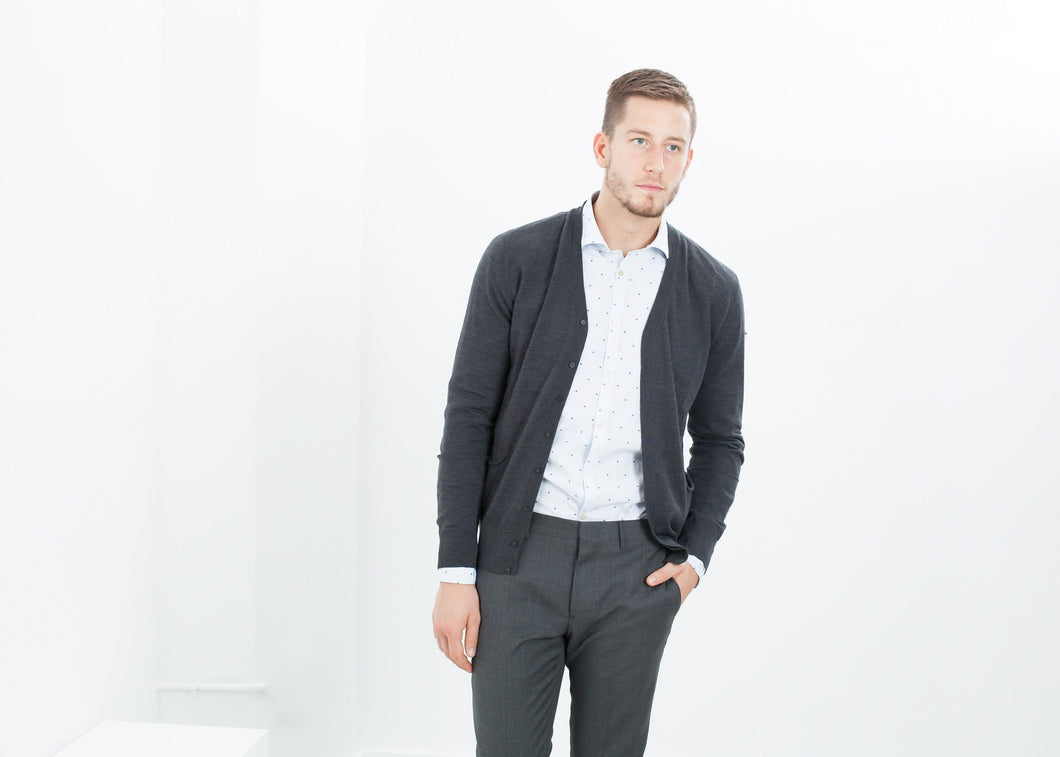 Hidden Placket Cardigan in Charcoal