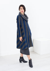Petale Coat in Silver/Blue
