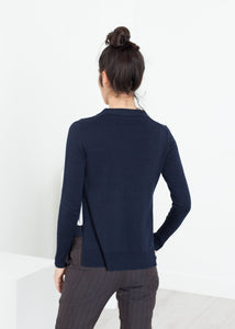 Square Cardigan in Navy