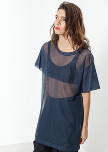 Mesh Over Dress in Navy