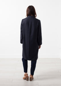 Woven Pleat Back Coat