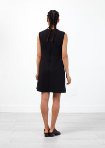 Neoprene Flower Dress in Black