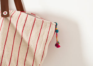 Woven Oversized Tote in Red Stripe