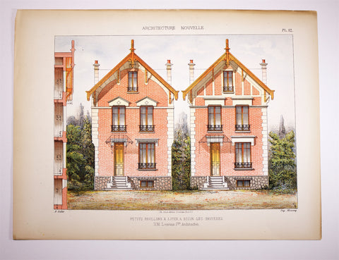 Dourdan:  Large FOLIO coloured Lithograph ARCHITECTURE Plans Petits Pavillons