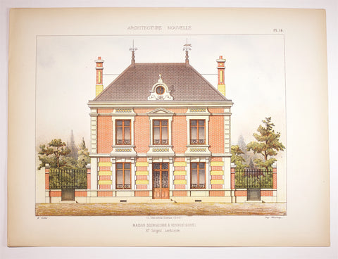 Dourdan: 1890 c Large FOLIO colored Lithograph ARCHITECTURE MAISON Bourgeoise