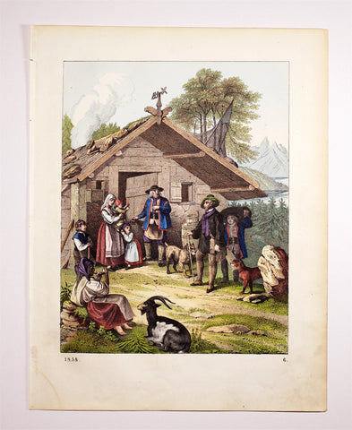 Unknown, 1858: BOOK OF THE WORLD, plate 6, Norwegian countryside depiction; farmers and traveler