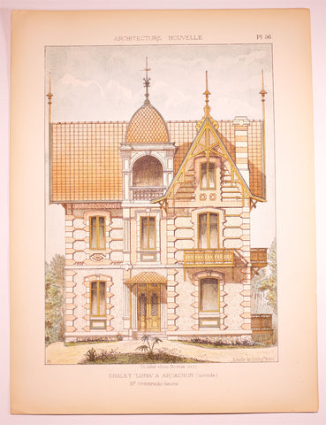 Dourdan: 1890 c Large FOLIO coloured Lithograph ARCHITECTURE Nouvelle CHALET