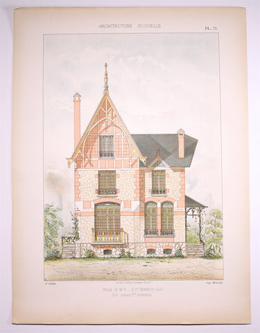 Dourdan: Large FOLIO coloured Lithograph Villa St.Germain