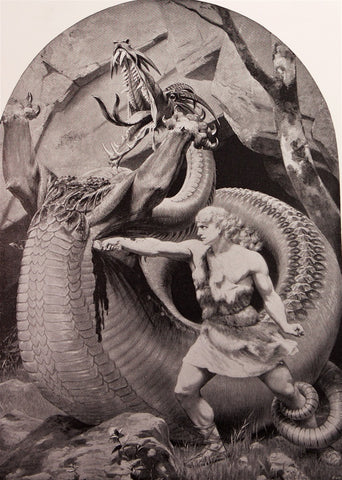 Dielitz, Konrad (1845-1933): Siegfried Slaying The Dragon - Norse Mythology (Richard Wagner's Ring Cycle)