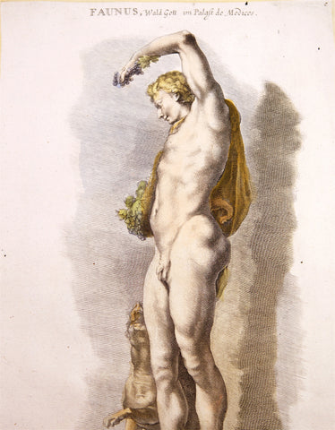 Sandrart, Joachim von (1606-1688): LARGE Folio Mythology FAUN Faunus STATUE handcolored Engraving