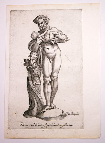 Battista de' Cavalieri, Giovani (1526-1597): SILENUS WITH INFANT BACCHUS from the Villa Borgia - Mythological Statue Quarto engraving