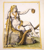 Carracci, Annibale (1560 - 1609): Omphale, queen of Lydia - Annibale CARRACCI - MYTHOLOGY handcolored engraving SCARCE