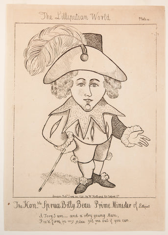 Holland, William (active 1782-1817): Short Person (Dwarf) - The Hon. Spruce Billy Beau Prime Minister of Lilliput, RARE HANDBILL SATIRICAL PRINT
