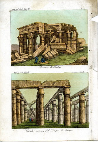 Italian artist, unknown: Two scenes in Egypt - Karnak and Ombos