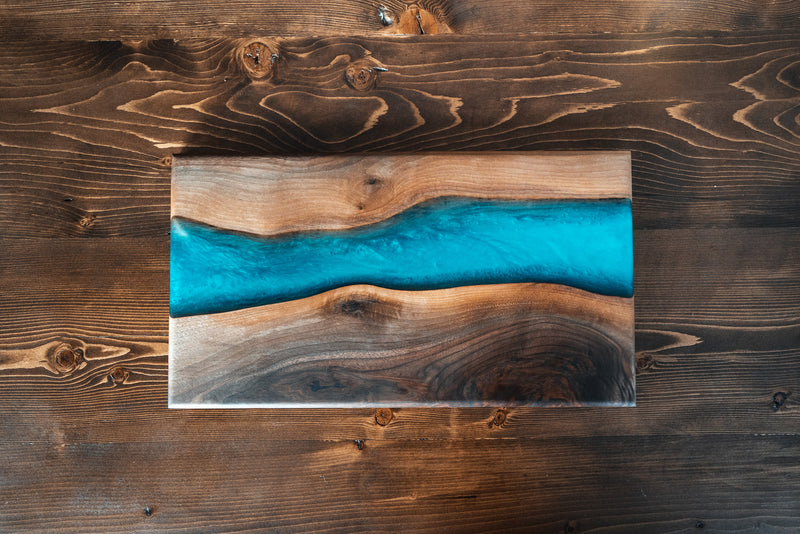 Walnut & Bora Blue Serving Board