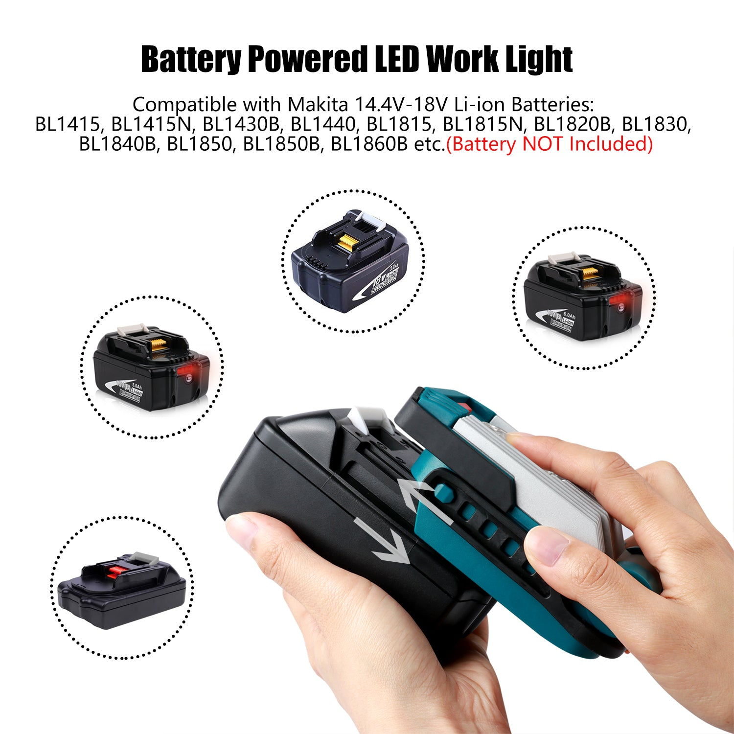 Portable Led Work Light Battery Powered 14 4v 18v 9w 420lm Mini Cordless Floodlight