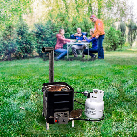 Camping Wood Stove with Propane Gas Burner Kit
