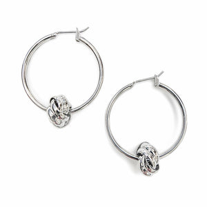 Modern Essentials - Silver Hoop Knot Earrings
