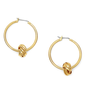 Modern Essentials - Gold Hoop Knot Earrings - Crowned