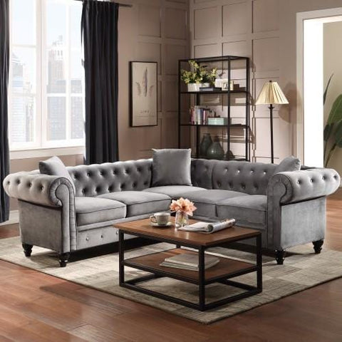 Velvet Upholstered Classic Sectional Sofa With 3 Pillows Grey