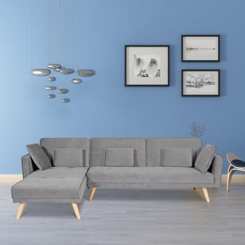 Foldable L-shaped sofa with pillow and headrest Gray