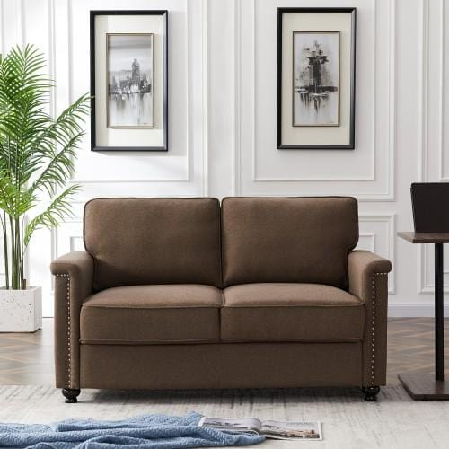 Polyester Fabric Corner Sofa For Living Room, 2 Seat Sofa, Brown