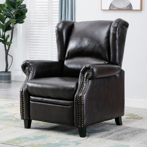Push Back Recliner Chair, Wingback Accent Club Chair for Living Room,Brown