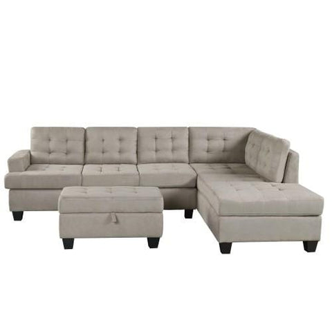 3-Piece Sectional Sofa with Chaise Lounge and Storage Ottoman L Shape Couch