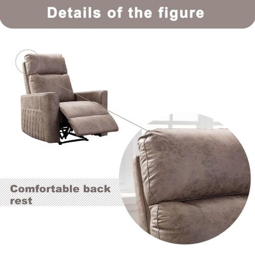 Recliner Chair, Soft Fabric Sofa Home Theatre Seating Manual Reclining Chair