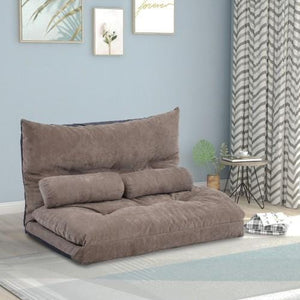 Adjustable Folding Futon Sofa with 2 Pillows Light Brown