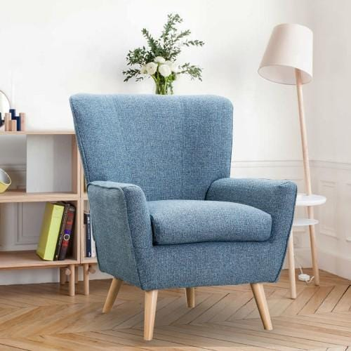 Accent Chair for Living Room & Bedroom, Modern Chair Wingback, Blue