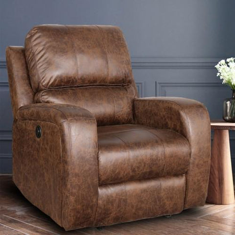 Power Electric Bonded PU Leather Recliner Chair with USB Charge Port Nut Brown