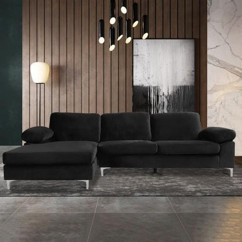 L-shaped Sofa, Sectional Sleeping Sofa For Living Room Black