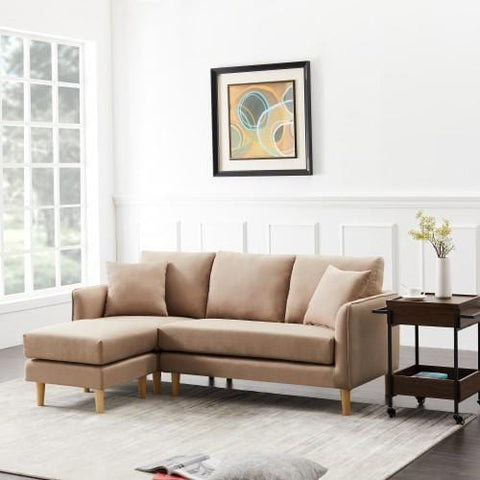 Polyester Fabric Corner Sofa For Living Room,Brown
