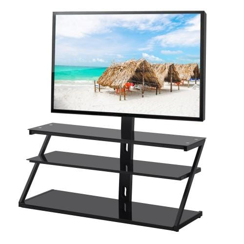 General Purpose Tempered Glass Metal Frame TV Stand For 32~65 Inch TV