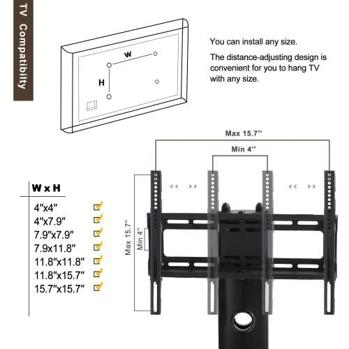 Height And Angle Adjustable TV Stand For 32~55inch LCD TV