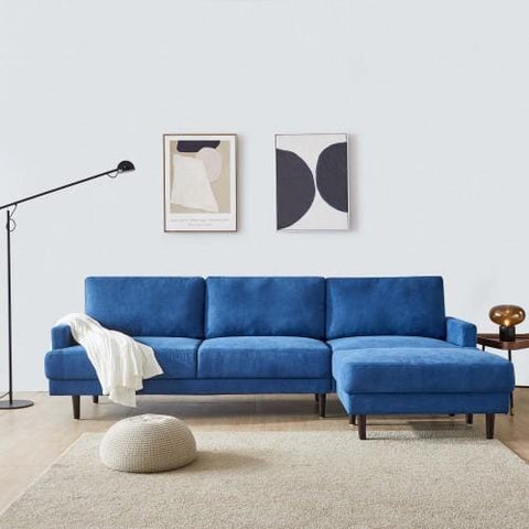 Modern Fabric Sofa L Shape, 3 Seater With Ottoman