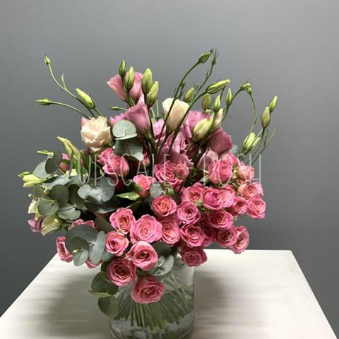 Spray Roses, Roses, Lisianthus and Eucalyptus