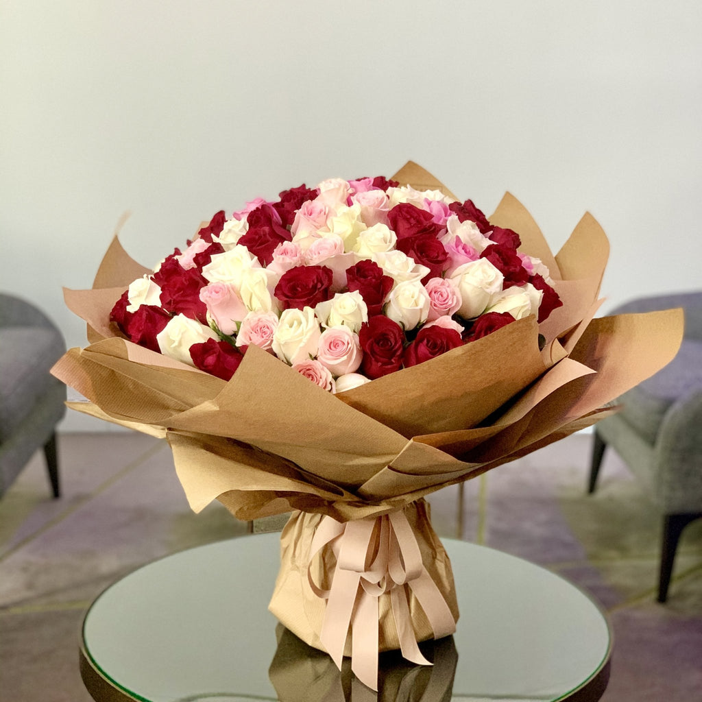 101 Premium Mixed Roses - Upscale and Posh - Same Day Flower Delivery Dubai