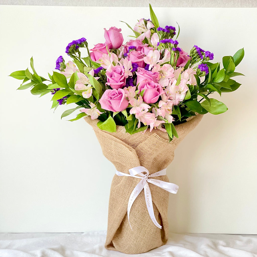 Pink and Purple Burlap Wrapped Bouquet