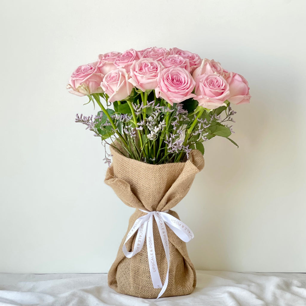 Pink Roses Burlap Wrapped Bouquet