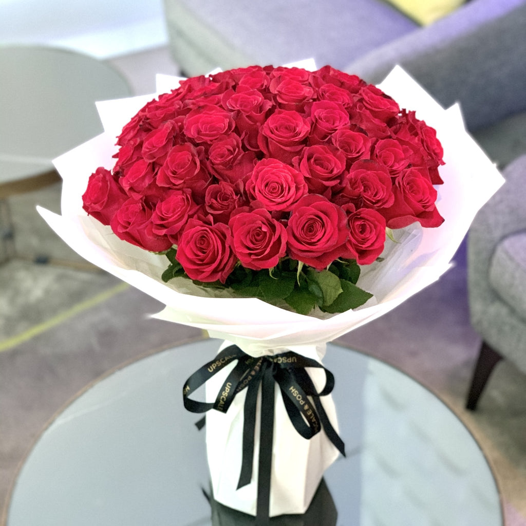50 Premium Red Roses - Upscale and Posh - Same Day Flower Delivery Dubai