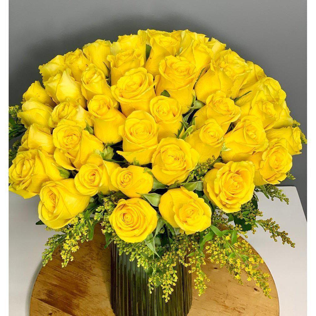 50 Signature Yellow Roses in a Vase - Upscale and Posh - Same Day Flower Delivery Dubai