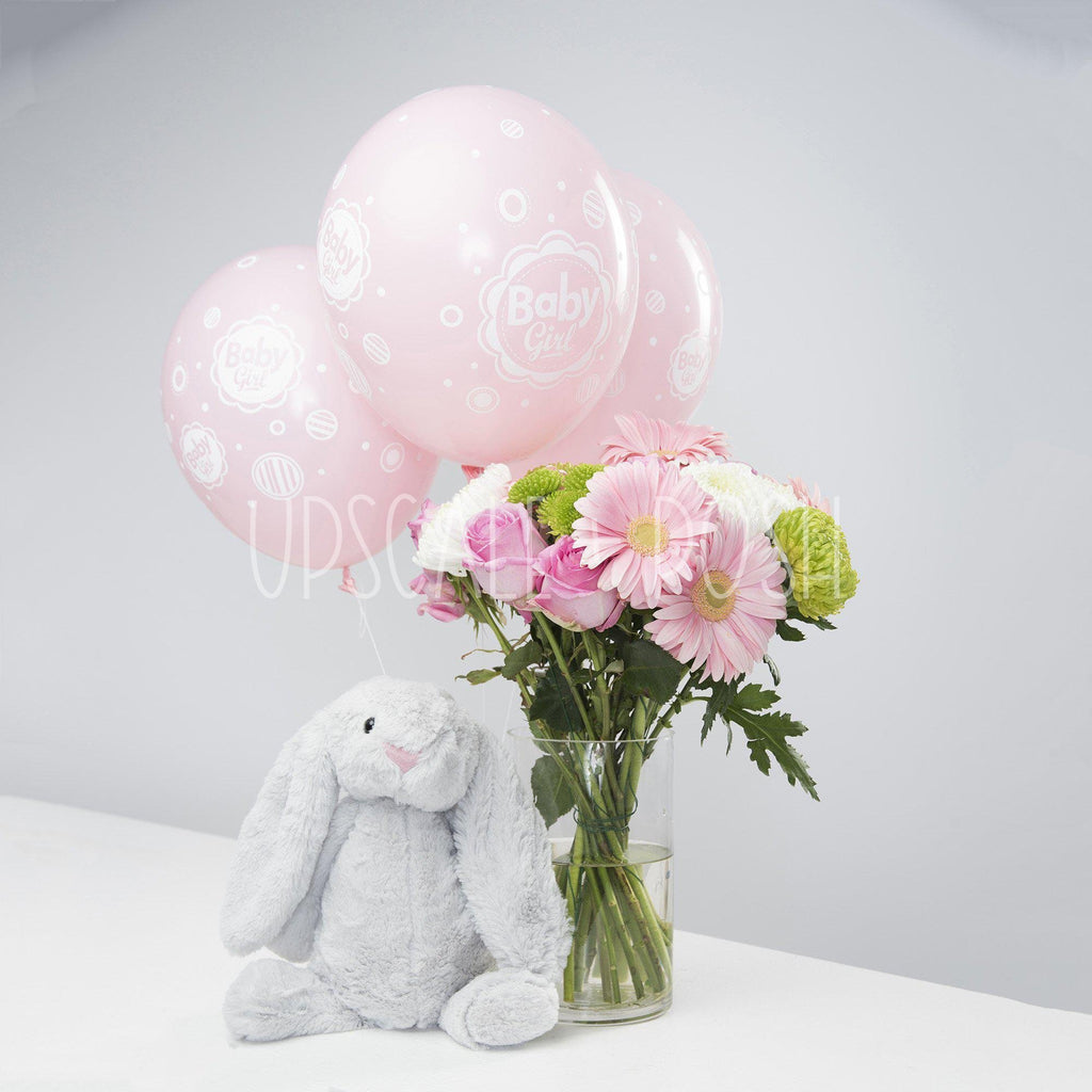 Baby Girl Bunny Combo - Upscale and Posh - Same Day Flower Delivery Dubai