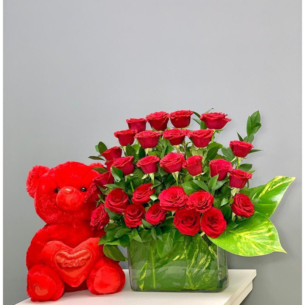 Endless Love Red Roses Gift Combo with Red Teddy Bear - Upscale and Posh - Same Day Flower Delivery Dubai